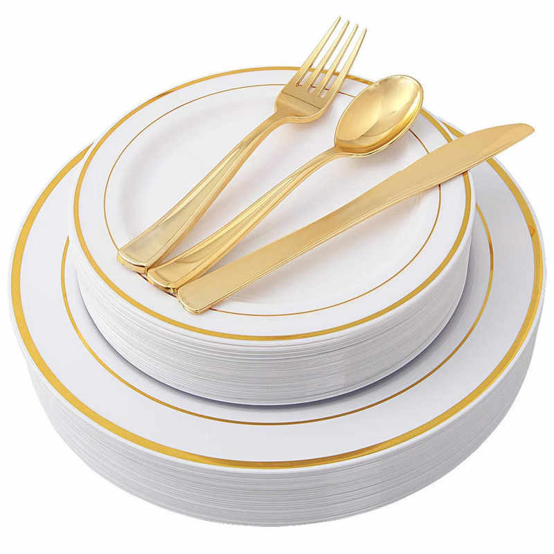25 шт., розовое золото, одноразовая прозрачная чашка, пластиковая обеденная тарелка, набор столовых приборов, набор столовых приборов для свадебной вечеринки, ложка, рождественский подарок
