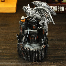 RONGHEREN Backflow Incense Burner Ceramic Aromatherapy Furnace Smell Aromatic Cone Dinosaur Holder Waterfall