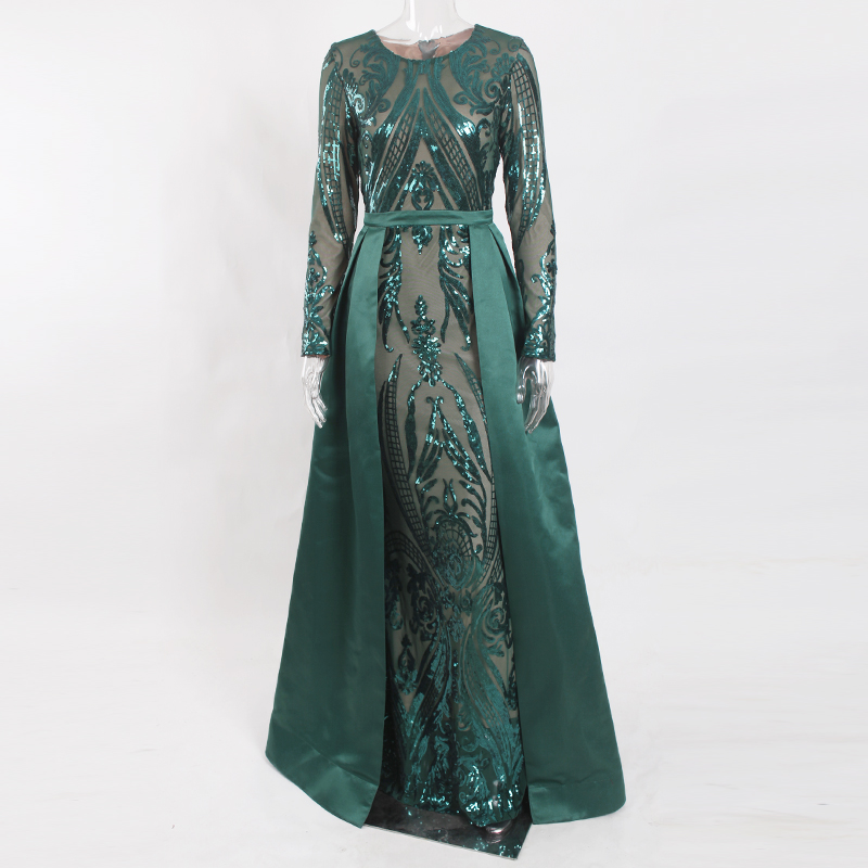 Green Sequined O Neck Full Sleeved Evening Party Dress Floor Length Ball Gown - 4