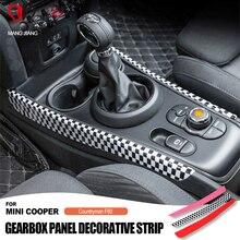새로운 2pcs 자동차 기어 시프트 패널 abs 스티커 미니 쿠퍼 f60 f54 자동차 스타일링 액세서리 기어 시프트 양면 장식 패널