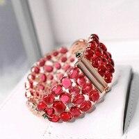 Europe and America luxury red crystal bracelet micro set elastic clasp retro ladies cuff bracelet