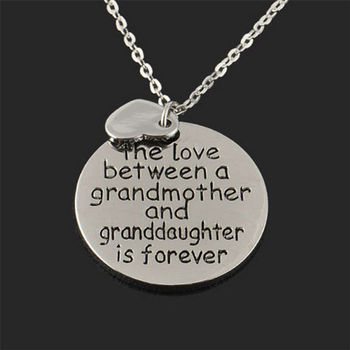 Love Between Grandmother And Granddaughter Neckalce Double Heart Family Jewelry Necklace Pendant Circle Necklace Jewelry Gift image
