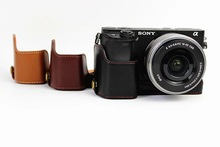 цена на New Leather Camera Case Half Body Cover for Sony A6000  A6300