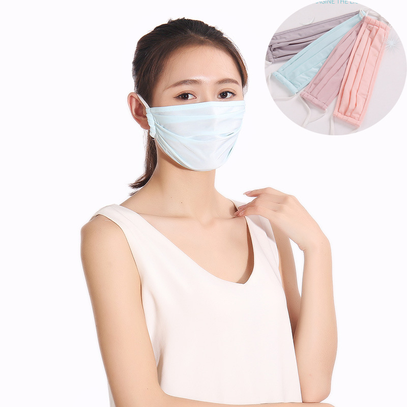 Solid Color Mouth Mask Unisex Anti-dust Washable Reusable Summer Ice Silk Face Mouth Masks 4 Colors Sun Protection Mask-muffle