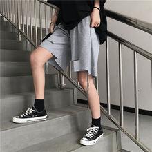 Лето хип-хоп рваные шорты мужская мода сплошной цвет хлопка свободного покроя мужчин уличной моды диких свободные отверстия рваные мужские