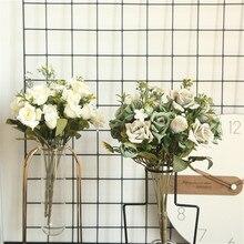 Угловая роза DIY вечерние украшения Винтажные Искусственные цветы маленькие свадебные фальшивые цветы праздничные принадлежности, домашний декор букет YL5