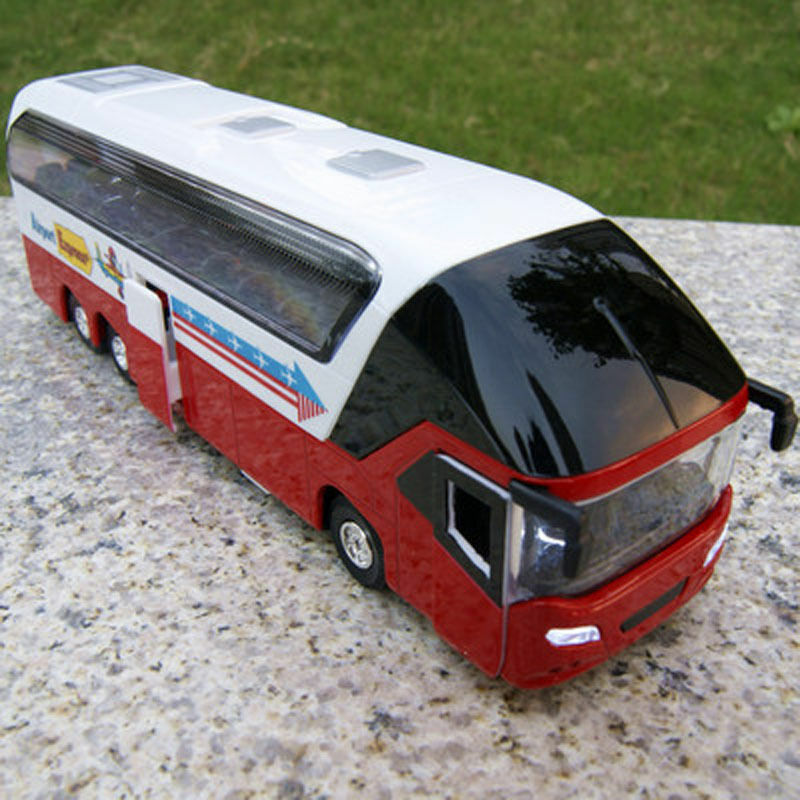 Red White Double Decker Sightseeing Tour Bus 1/38 Diecast Model W/light&sound Collection Toy