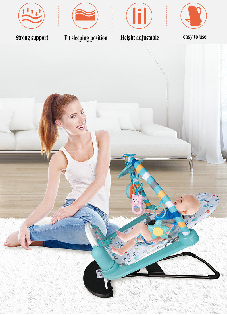 H0acba20dd3a649d4853b2e933210bf357 Baby Rocking Chair Newborn Electric Toy Fitness Frame Children Music Folding Swing Multifunction Comfortable Recliner Rattle