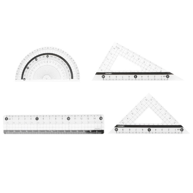 4Pcs Student Drawing Squares Triangle Ruler Protractor Maths Geometry Stationery