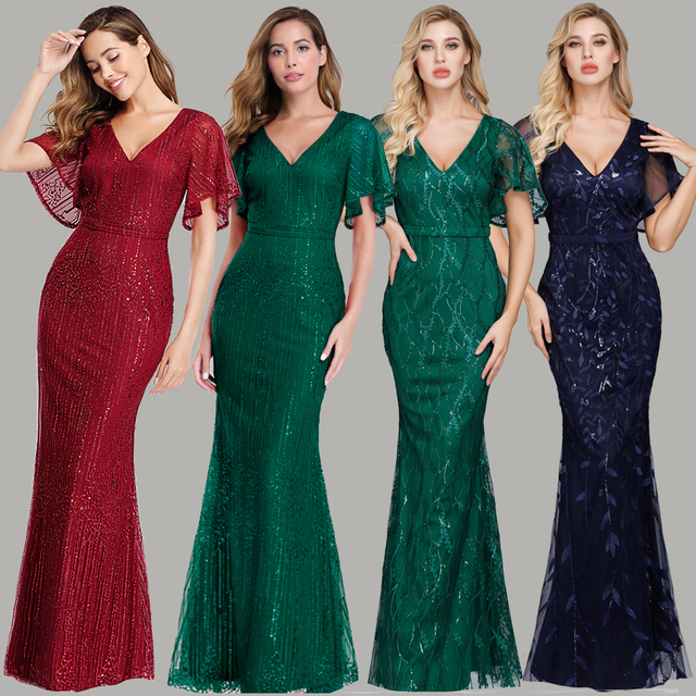 Sparkle Sexy Mermaid Evening Dresses Long Sequined V-Neck Sparkle Evening Gowns For Party Vestidos Largos Fiesta 2019 New Dress 1