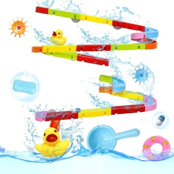 Kids Shower Toys Suction Cup Track Bath Toys Water Games Toys Baby Play Water Bathroom Bath Shower Water Toy Kit for Children new 1pc children baby bathing swim toy plastic bath water cup beach play toy