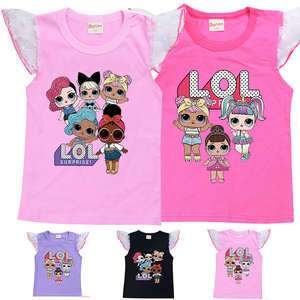 LOL Surprise/принт кукла, Летний жилет футболка с белым фатиновым сетчатым рукавом для девочек, детские топы, футболки, повседневная хлопковая од...