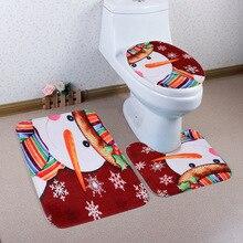 цена на Christmas Bath Mat WC Toilet Seat Cover Toilet Mat Toilet Seat Warmer Tapas Wc Mat Decoration Cuvette Christmas Bathroom Commode