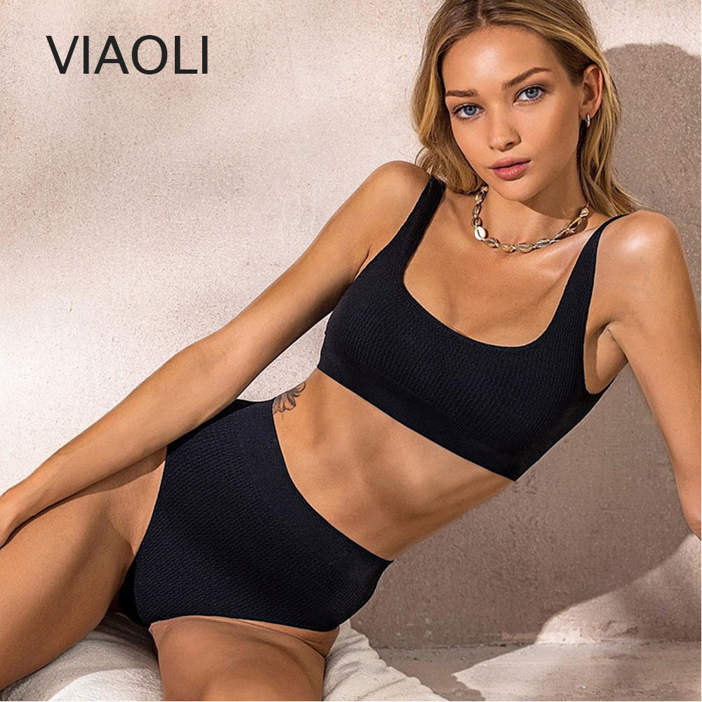 Women Swimwear Summer Push Up Swimsuit Solid Bikini Set Sexy High Waist Bathing Suit Beachwear Biquini Girls Bathing Suit Black
