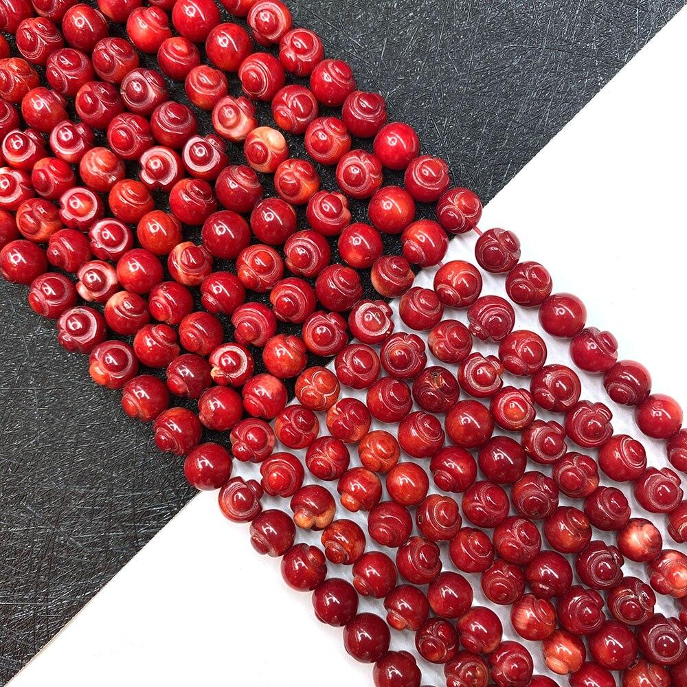 Natural vermelho coral contas 7mm coral mão-esculpida contas para fazer jóias diy colar pulseira brinco acessórios length15 polegadas