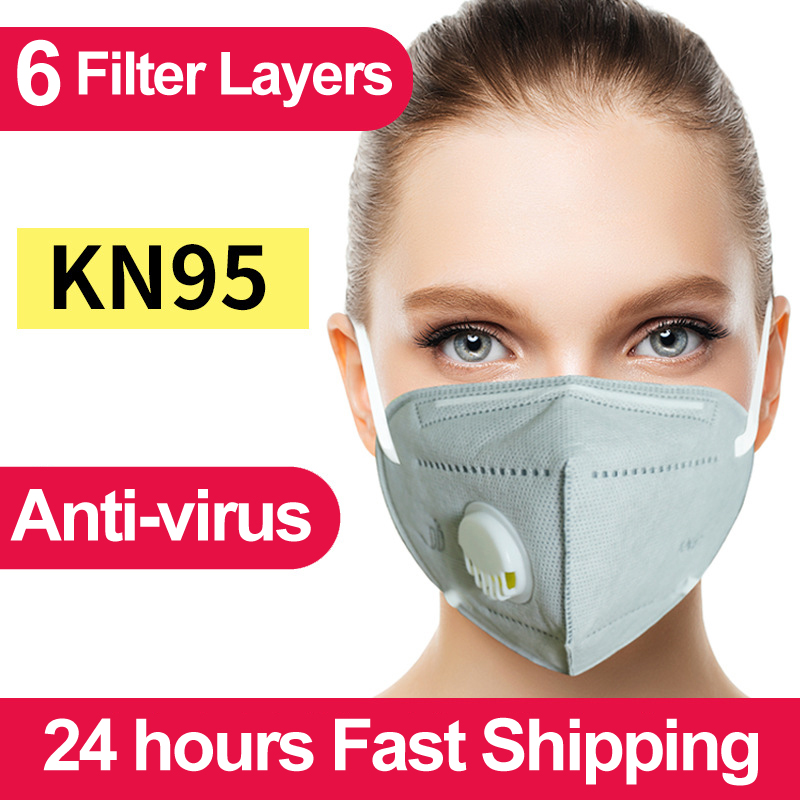 Six Layers Individual Packing Of KN95/KF94/FFP2 Protective Face Masks With Valve Fast Shipping