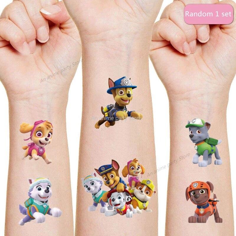 Pegatina de tatuaje de perro de rescate para niños, decoración para fiesta de cumpleaños, regalo, decoración para fiesta de perro, pegatinas de tatuaje de dibujos animados