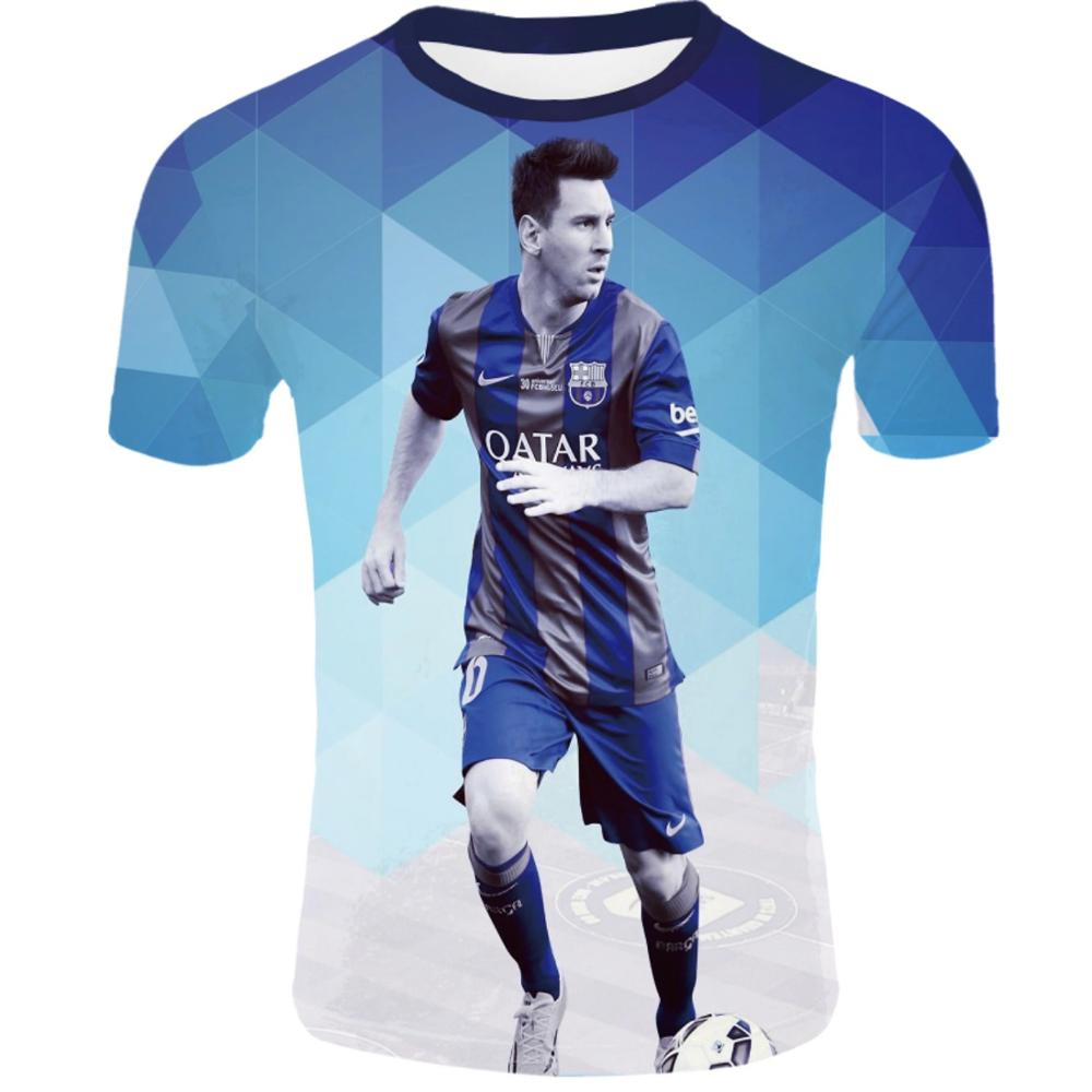 Summer New World Cup Football Superstars Ronaldo And Messi 3d Printed Short-sleeved Casual Wear Short-sleeved Football Uniforms