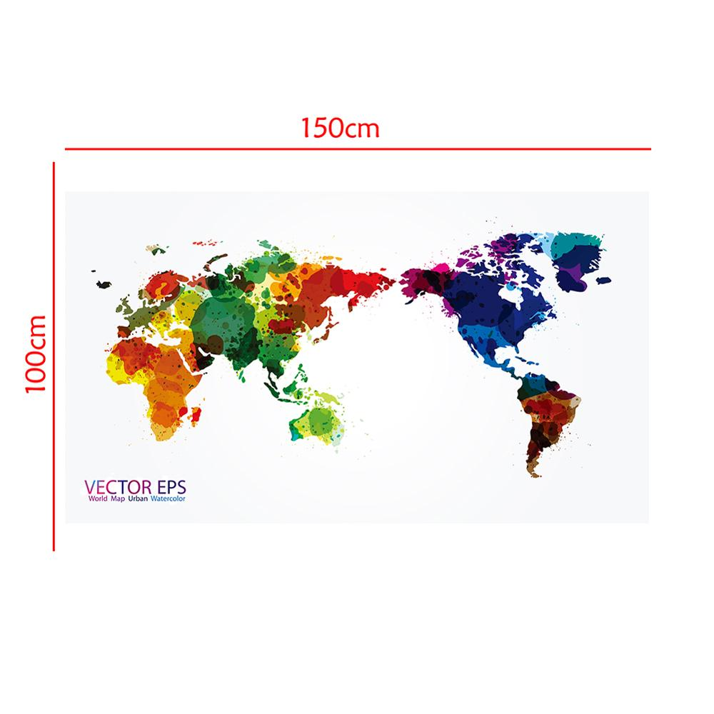 150x100cm VECTOR EPS World Map Urban Watercolor Home Office Wall Decor World Map Non-woven Vinyl Spray Painting