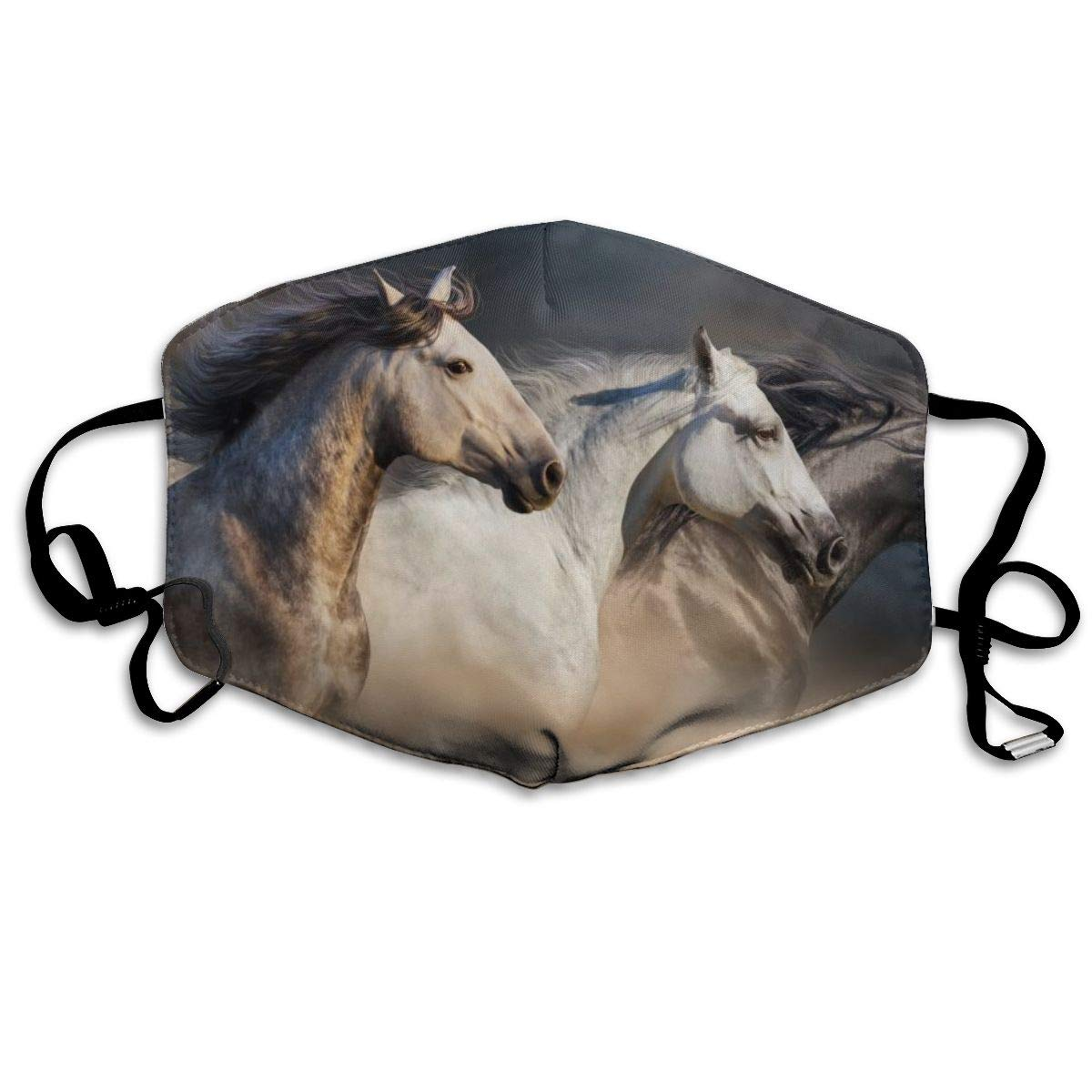 Mouth Mask Horses With Long Mane Fashion Earloop Face Mask For Kids Teens Men Women Winter Summer