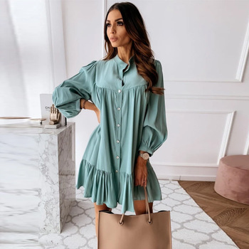 Women Vintage Ruffled Front Button A-line Dress Long Sleeve Stand Collar Solid Elegant Casual Mini Dress 2020 Autumn New Dress lettuce edge trim button front ribbed dress