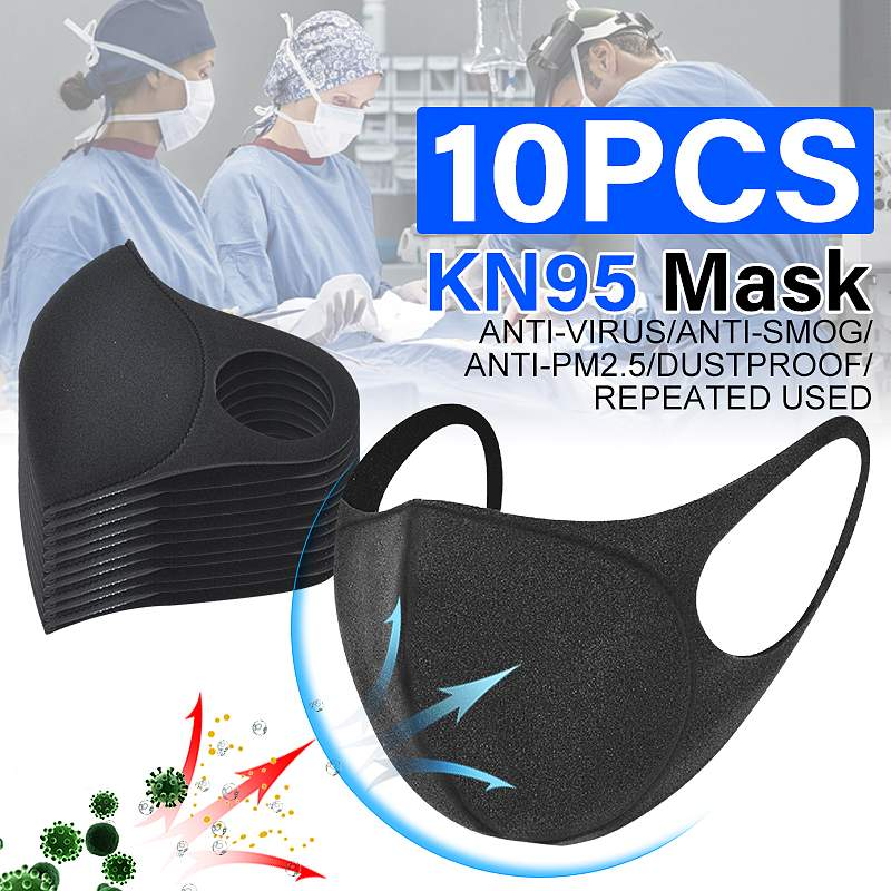 10 Pcs Cotton Face Mask Breathable Stretchable Ear Loops Protection Dustproof Washable And Reusable Black Durable Wear-resistant