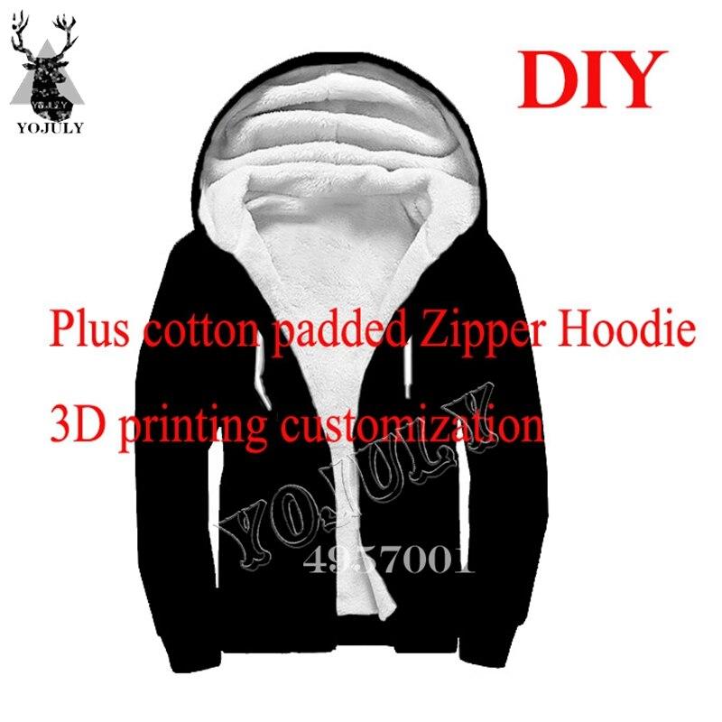 YOJULY 3D impression personnaliser Plus coton rembourré veste à capuche zippé hiver unisexe mode fermeture éclair à capuche vêtements hommes manteau livraison directe