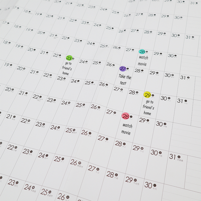 2021 Wall Calendar Year Planner Daily Plan Paper with 2 Sheet Mark Stickers for Office School Home office supply 5