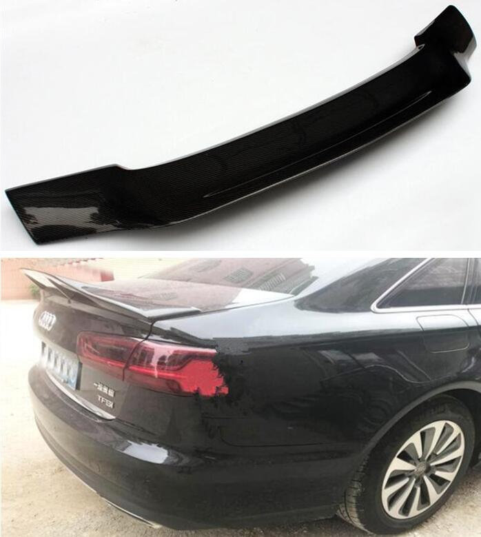 High Quality CARBON FIBER REAR WING TRUNK LIP SPOILER FOR AUDI A6 S6 RS6 C7 C7.5 Sedan 2012-2019 R STYLE BY EMS image