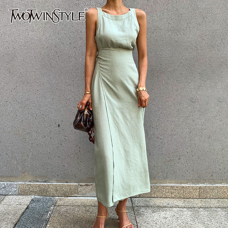 TWOTWINSTYLE Elegant Sleeveless Dress For Women O Neck Off Shoulder High Waist Bandage Midi Dresses Female Fashion 2020 Clothing