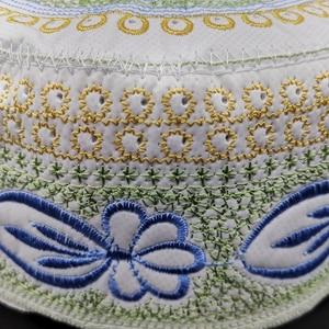 Image 4 - Jewish Kippah Men Yarmulke Hats Muslim Musulman Indio Prayer Hat Caps Blue Embroidery Islamic Clothing  Scarf Cap