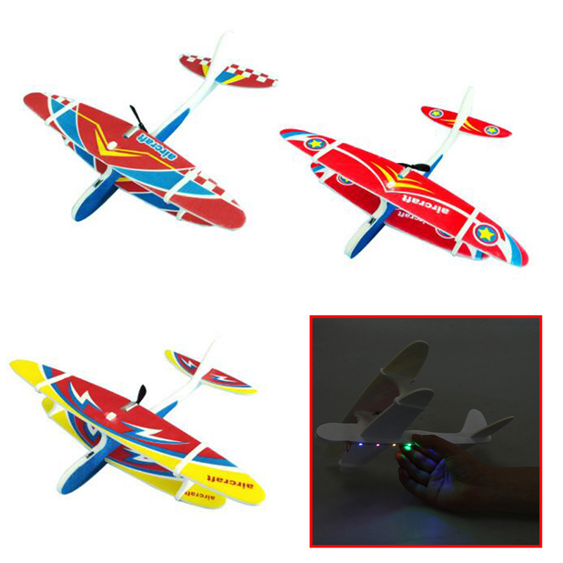 Electric Plane LED EPP Foam Airplane Hand Launch Throwing Glider Aircraft Model Outdoor Kids Educational Toy Adult Gift image
