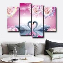 Влюбленный Лебедь Холст плакат 4 Панель Картины nordic Плакаты