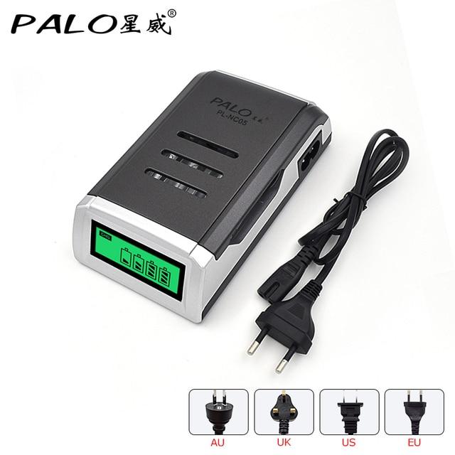 PALO cargador Universal C905W con 4 ranuras, pantalla LCD, cargador de batería de domótica para baterías recargables AA / AAA NiCD NiMH