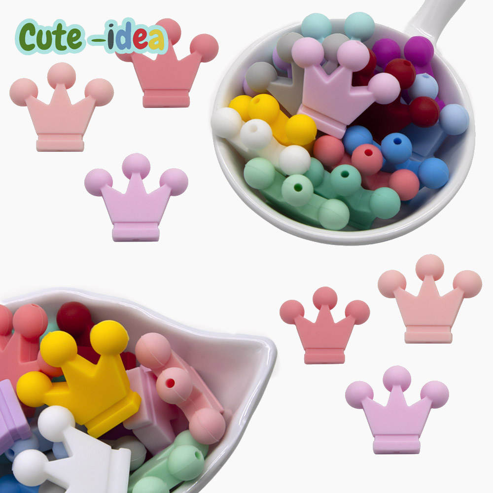 Baby Silicone Beads Chew-Sensory Cute-Idea Craft-Chain Teething-Toy Crown Food-Grade