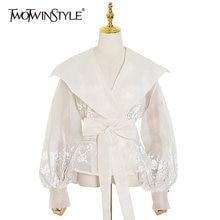 Женская рубашка с вышивкой twotwinstyle Элегантная туника отложным