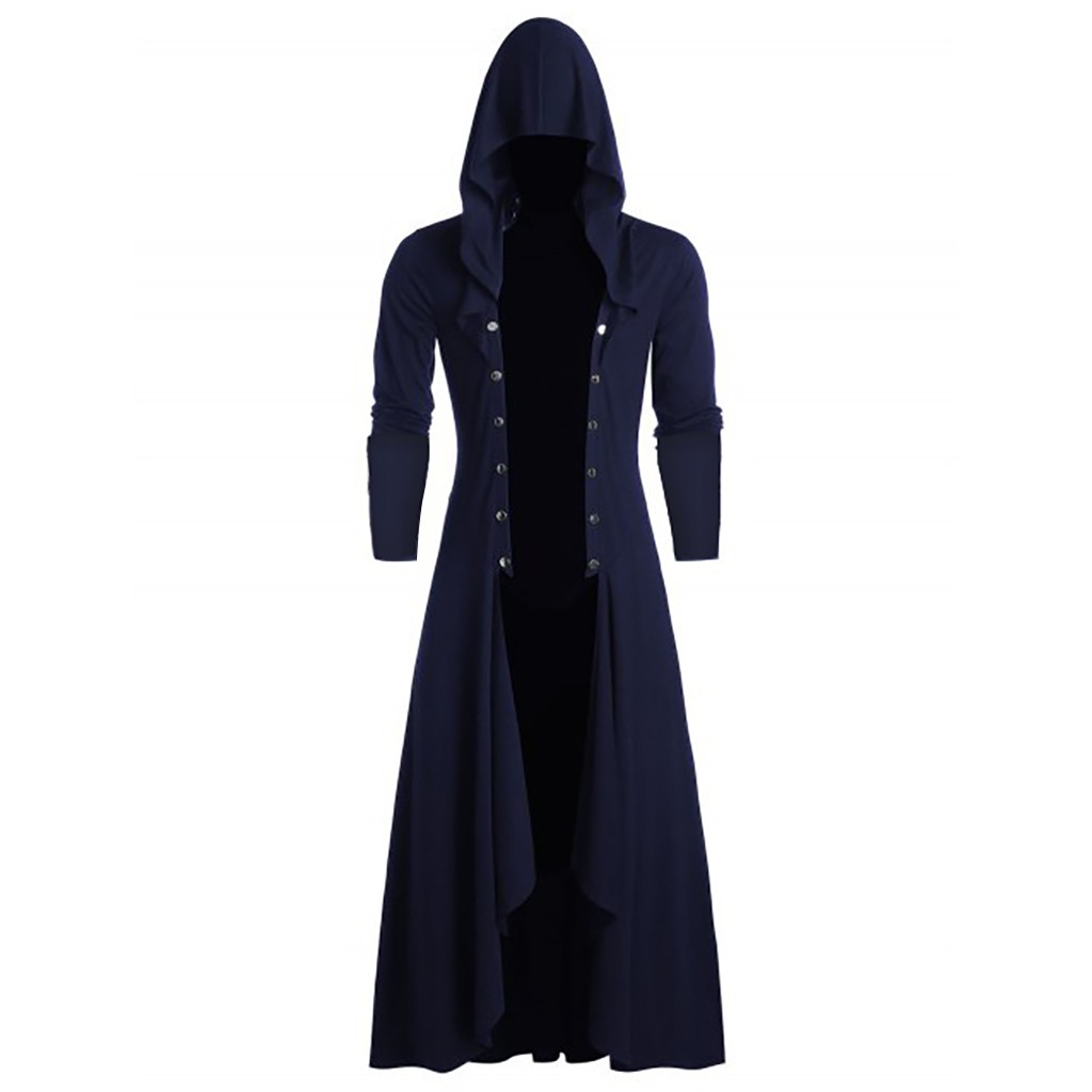 H0acd49af92e84bfe83b3dbf609e713336 Men's Trench Retro Steam Punk Gothic Wind Cloak Coat Black Solid Casual Summer Plain Cap Cardigan Business Long Sleeve Coat Men