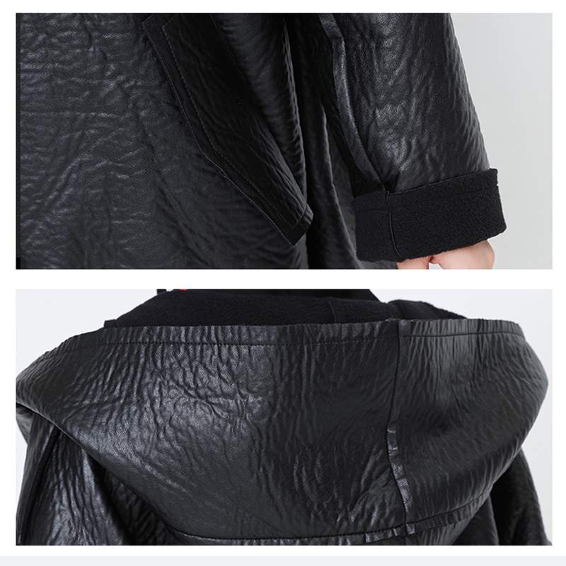 [EAM] Loose Fit Hooded Black Pu Leather Thick Oversize Jacket New Long Sleeve Women Coat Fashion Tide Autumn Winter 19 JG637 9