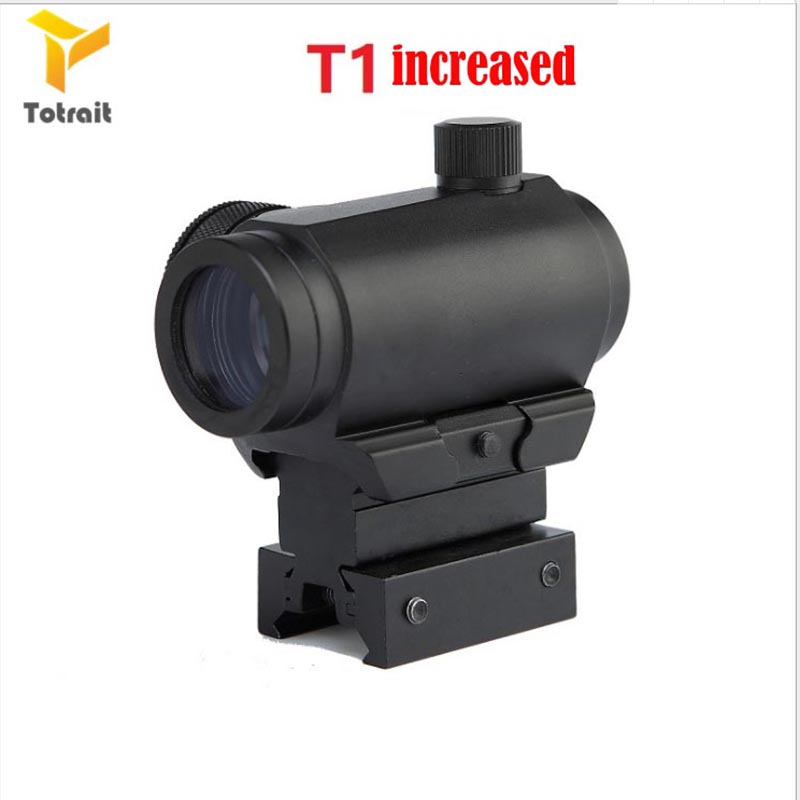 Tactical Mini 1X24 <font><b>T1</b></font> <font><b>Red</b></font> Green <font><b>Dot</b></font> Sight Illuminated Sniper Rifescope With QD Mount & Low Mount Hunting Air Gun Rifle <font><b>Scope</b></font> image