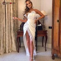 Ceremokiss Satin Feather Party Dress Off Shoulder Bodycon High Split Long Dress Strapless Maxi Mermaid Dress Female Club Vestido