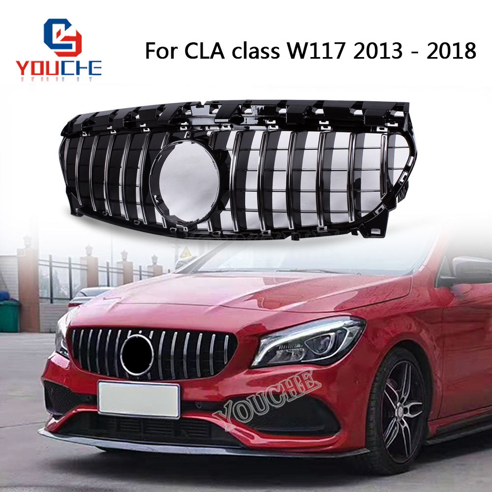 GT R Style Front Bumper Grill Mesh for Mercedes W117 CLA Class CLA180 CLA200 <font><b>CLA250</b></font> CLA45 AMG 2013 - 2018 image