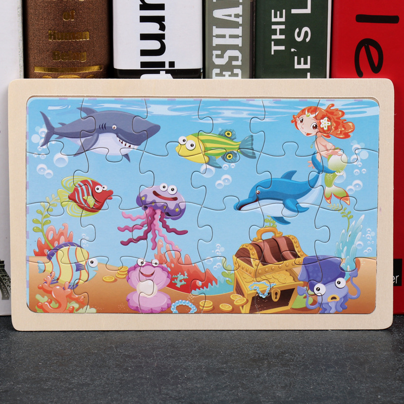 24 Slice Wood Puzzles Children Adults Vehicle Puzzles Wooden Toys Learning Education Environmental Assemble Educational Games 16