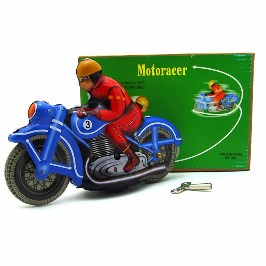 Tinplate Nostalgia Jam Rantai Mainan Fotografi Alat Peraga Model Motor Hadiah untuk Anak-anak Mainan Juguetes Zabawki Игрушки Gaya Baru
