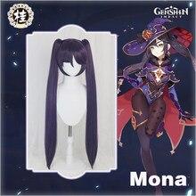Pré-vente UWOWO jeu Genshin Impact Mona Megistus Cosplay perruque réflexion astrale 90cm violet double queue perruque