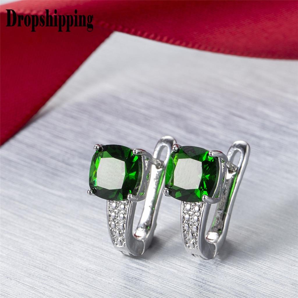 Argent cristal mode boucles d'oreilles simples européennes et américaines boucles d'oreilles dames sauvages bijoux de mode pour les femmes 2020 # ZD