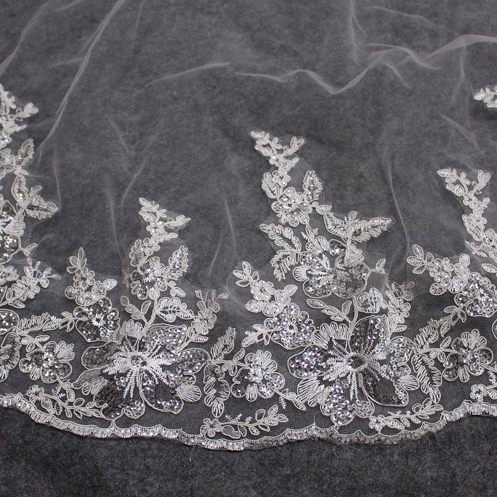 Wedding-Veil Short Sequins Bling One-Layer Comb Bride-Accessories Lace Luxury WITHOUT