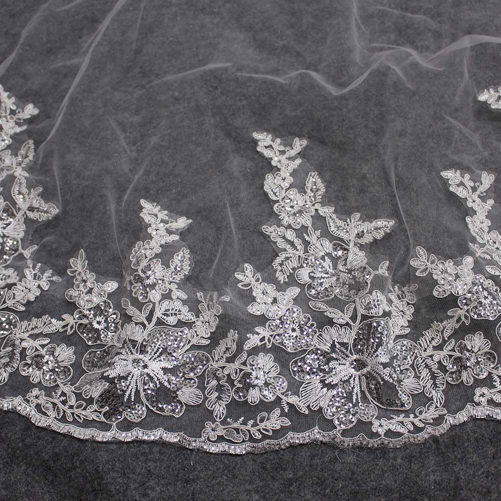 Short 150cm Wedding Veil WITHOUT Comb Luxury Bling Sequins Lace One Layer Bridal Veil Bride Accessories Veu De Noiva
