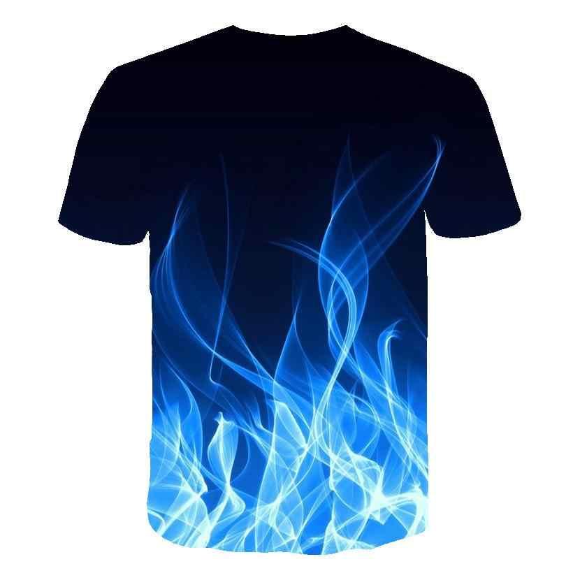3d Blue Red Flaming Tshirtผู้ชายผู้หญิงTเสื้อ 3dเสื้อยืดสีดำTee Casual Streetwearเสื้อแขนสั้นเอเชียขนาดS-6xl