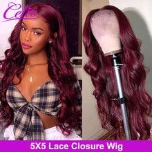 Парик Celie Hair Body Wave 99J на сетке спереди, парик на сетке 5x5, цветные парики из человеческих волос, бордовые волнистые волосы, парик на сетке спере...