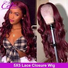 Perruque Lace Front Wig Body Wave 5x5 – Celie Hair, perruques Lace Closure Wig 99J colorées bordeaux